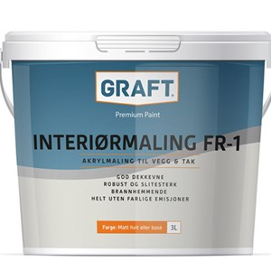 Graft Interiørmaling FR-1 Hvit - 3 ltr.sp.